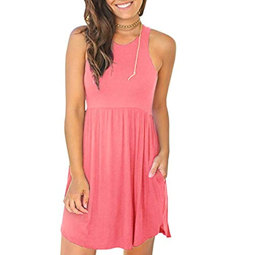 NRUTUP Dresses for Women Casual Summer Casual Simple V-Neck Solid Color Lrregular Loose Summer Sleeveless Dress Pink