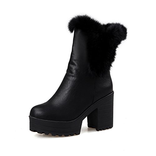 Collar Fur Chunky amp;N Heels Leather A Platform Black Ladies Imitated Boots waZXxAqp