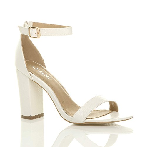 Heel Ajvani Size Women Block Lizard High Strappy Sandals White ttgO7qx