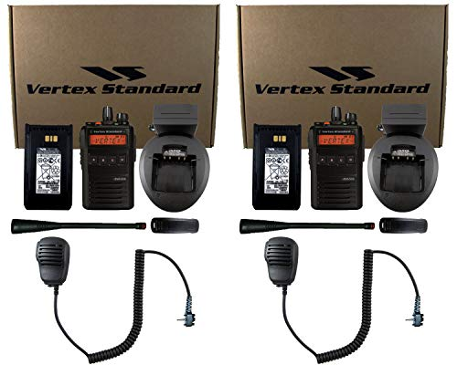 (Vertex Standard EVX-534-G7 UHF 450-512MHz Analog/Digital DMR Portable Two Way Radio Full Package with Speaker Microphones (2-Pack))