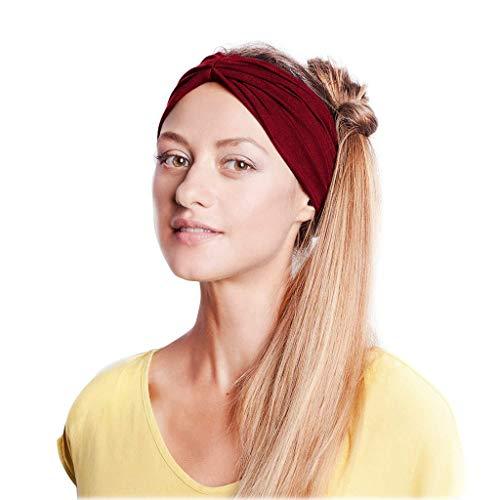 (hositor Elastic Headbands, Women Cotton Knotted Turban Head Warp Hair Band Wide Elastic Headband Sport Yoga Brown)