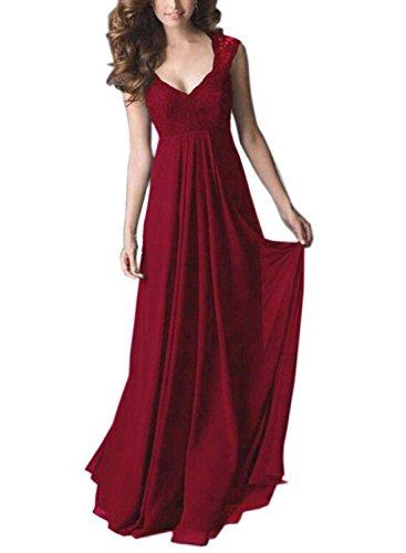 REMASIKO Women's Deep- V Neck Sleeveless Vintage Maxi Party Evening Dress (X-Large, Dark Red)