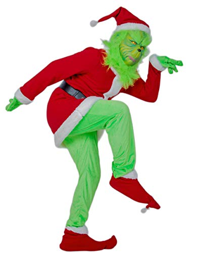 Xcoser Grinch Santa Christmas Costume Outfit Suit for Adult M -