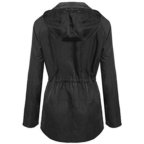 Abrigo bolsillos De Mujer Parka Lenfesh de las largo dei Otoño de Invierno Ligero Negro impermeable A7dqId