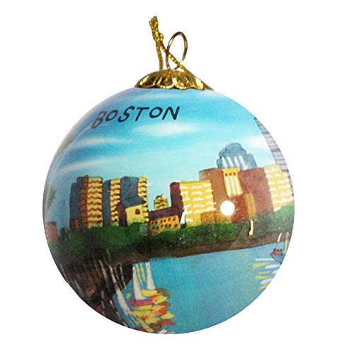 Art Studio Company Hand Painted Glass Christmas Ornament - Boston Massachusetts Skyline