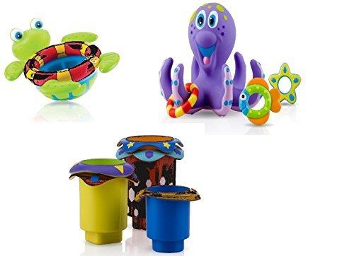 Nuby Bundle of 3 Toys - 5 Splish Splash Stacking Cups 6152, 1 Octopus Floating Bath Toy 6144, 1 Floating Turtle 6145, 18 (Splish Splash Bath)