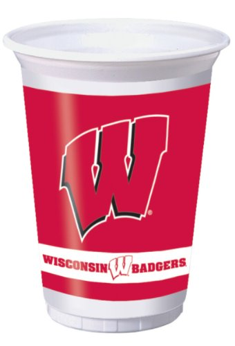 Wisconsin Badgers 20 oz. Plastic Cups, 8-Count