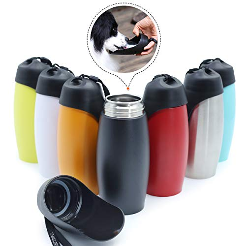 Vivaglory Leakproof Stainless Steel Dog Water Bottle for Walking Travelling Hiking, 25 OZ, BPA Free, FDA Approved, Pet Drinking Bottle Bowl, Classic Black