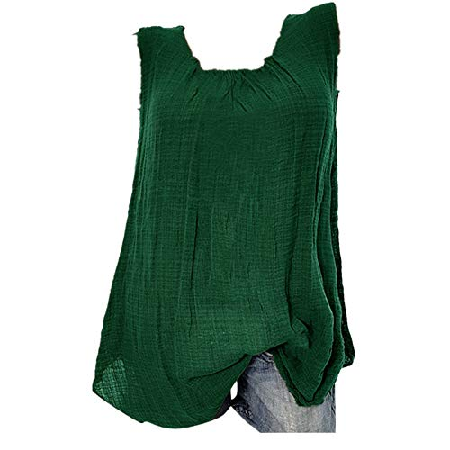Racerback Tank Sequin - YFancy Womens Comfy Cotton Linen Sleeveless Baggy Solid Color Sports T-Shirt Vest Tee Blouse Tank Tops Plus Size Blouse Green