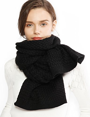 - Chunky Knit Scarfs for Women Thick Cable Shawls Wrap Winter Soft Warm Long Large Black Solid Color Pashminas Stole