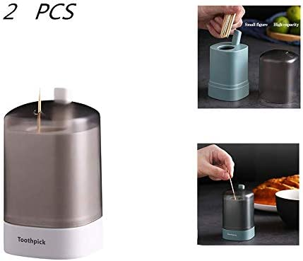 2 Stück Tragbarer Pop-up-zahnstocher-halterbehälter - Personality Push-typ Automatische Pop-up-zahnstocherbox Für Restaurantküche Handdruck-zahnstocherglas White