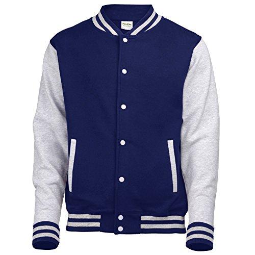 AWDis Hoods Varsity Letterman jacket Oxford Navy / Heather Grey XL