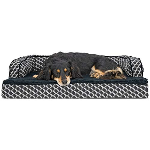 FurHaven Pet Dog Bed | Orthopedic Plush & Décor Comfy Couch Sofa-Style Pet Bed for Dogs & Cats, Diamond Gray, Medium ()