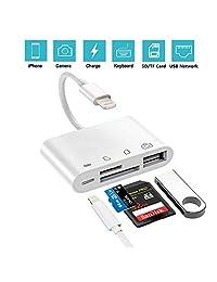 Adaptador de lector de tarjetas SD TF, USB 2.0 hembra OTG cable adaptador para iPhone y iPad, cámara de juego de Trail lector de tarjetas SD no requiere aplicaciones, Plug and Play.