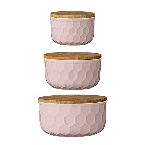 Bloomingville A21700004 Set of 3 Round Pink Stoneware Bowls with Bamboo - Bowl Round Large