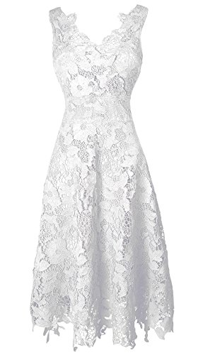 KIMILILY Women's V neck Elengant Floral Lace Swing Bridesmaid Dress(W,L)