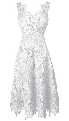 KIMILILY Women's V neck Elengant Floral Lace Swing Bridesmaid Dress(W,L)