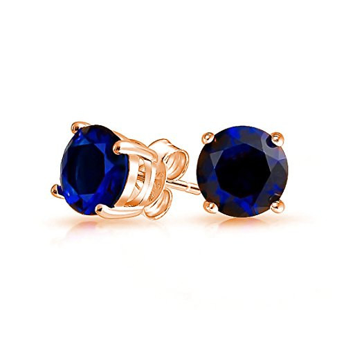 Solitaire Stud Post Earring Round Simulated Blue Sapphire Rose Tone Plated 925 Sterling (Round Blue Sapphire Rose)