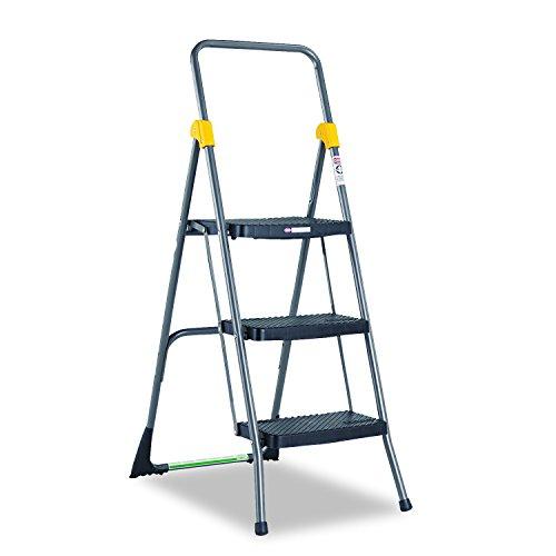 Cosco 11839GGO Commercial 3-Step Folding Stool, 300lb Cap, 20 1/2w x 32 5/8d x 52 1/8h, Gray by Cosco