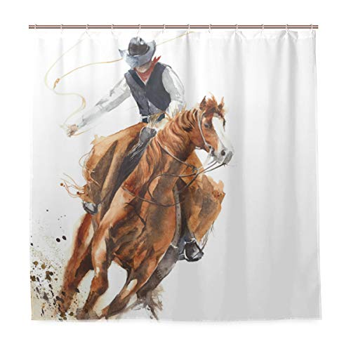 TARTINY Decoration Shower Curtain Shower Cowboy Riding Horse Ride Calf Roping Bath Curtains Waterproof Fabric Bathroom Decor Set with Hooks 72X72inch