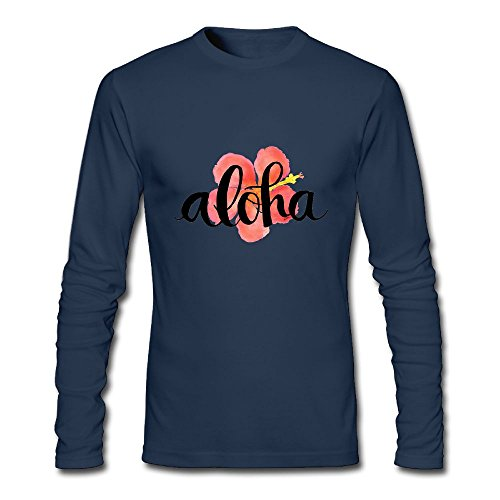 (Jidfnjg Aloha Hibiscus Perfect Round Neck Long Sleeve Fall Wear T-Shirt.)