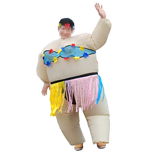 LOVEPET Inflatable Sumo Costume Adult Hula Big Fat Guy Spoof Party Performance Prop Costume Halloween Christmas Funny Inflatable Clothing Masquerade Props