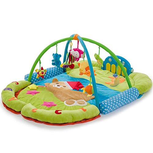 - Baby Playmats - Gym with Lights Music and Melodies-Bear Foot Piano Baby Game Blanket Baby Crawling Blanket Fitness Rack Toy,Blue