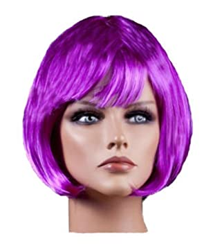 Guilty Gadgets ® - Peluca para disfraz de adulto (Purple Wig - Bob Style)