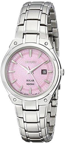 (Seiko Women's SUT127 Dress Solar Analog Display Japanese Quartz Silver Watch )