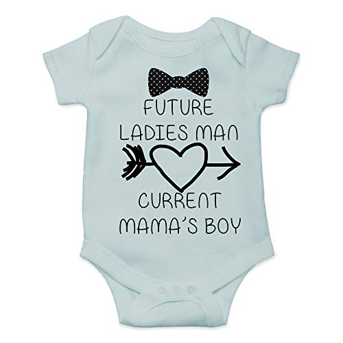- CBTwear Future Ladies Man Current Mama's Boy Funny Romper Cute Novelty Infant One-Piece Baby Bodysuit (6 Months, Sky Blue)