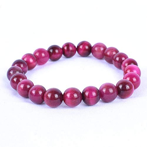 Bold Pink Tigers Eye Bracelet Handmade Grade AAA 6mm luster and polished Gemstone Beaded Bracelet Womens Gift