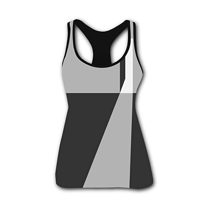 onecup Gray Visual Stereo Graphics Stretch Casual Tank Tops ...