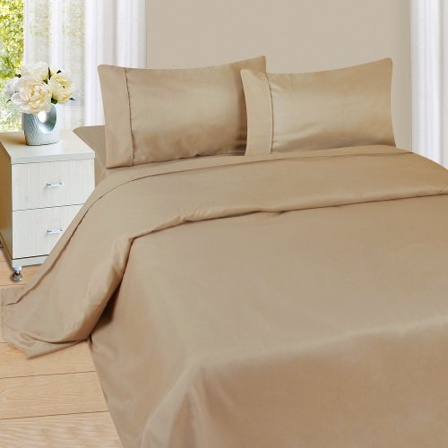 Lavish Home 1200 4-Piece Sheet Set, Queen, Taupe
