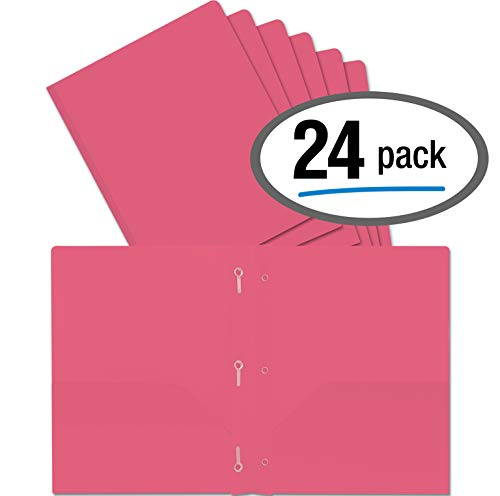 Better Office Products Pink Plastic 2 Pocket Folders with Prongs, Heavyweight, Letter Size Poly Folders, 24 Pack, with 3 Metal Prongs Fastener Clips, Pink ()