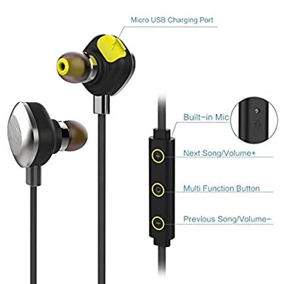 U5 Plus Bluetooth Headphone,Longess V4.1 Waterproof IPX7 Hi-Fi Stereo Noise-Cancelling CVC6.0 Wireless Sports Sweatproof Earphone Earbuds Headset with Portable Magnetic for Running,Cycling,Gym