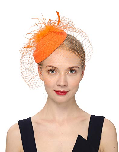 Fascinators Hats 20s 50s Hat Pillbox Hat Cocktail Tea Party Headwear with Veil for Girls and Women (B-Orange) -