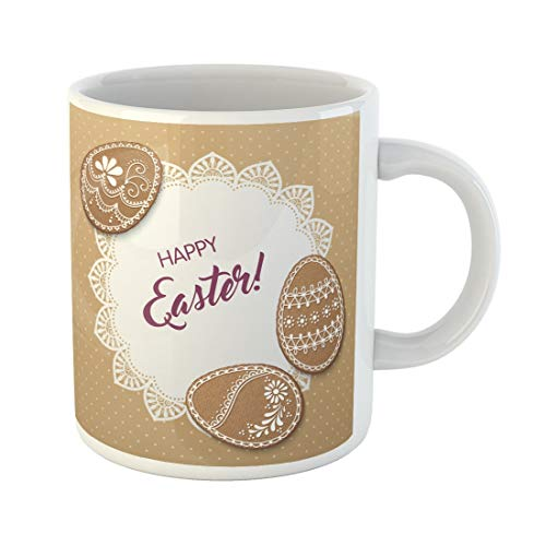 Tarolo 11 Oz Mug Coffee Mug Ceramic Tea Cup Baked Happy Easter Polka Dot Lacy Doily and Egg Shaped Gingerbread Cookies Biscuit Border Large C-handle Family and Office -