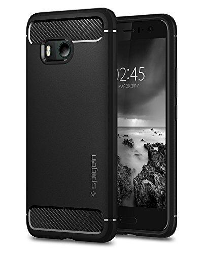 HTC U11 Case, HTC U 11 Caso, Spigen Rugged Armor - Resilient Shock Absorption and Carbon Fiber Design for HTC U11 (2017) - Preto