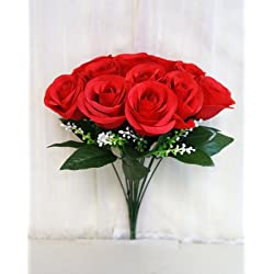 Sweet Home Deco 14'' One Dozen Sweet Roses Silk Artificial Bouquet Red Valentine's Day/wedding/home Decorations