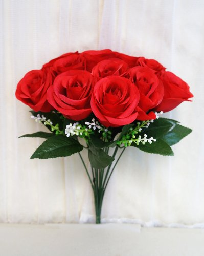 Sweet Home Deco 14'' One Dozen Sweet Roses Silk Artificial Bouquet Red (12 Stem/12 Flower Heads)(valentine's Day/wedding/home Decorations) (Red)
