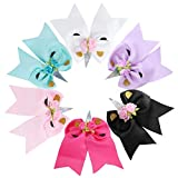 6 Pcs Big Unicorn Hair Clips No Slip Colorful Grosgrain Bow Ribbon Clip with Cheer Hair Bows for Girls Cosplay, 6 Inch