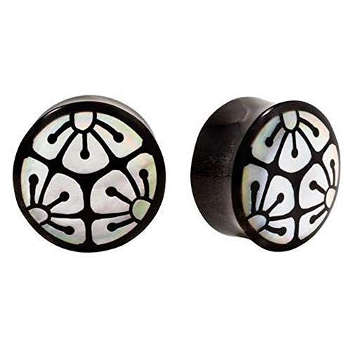 (Pair | Organic Horn & Mother of Pearl Flower Inlay Double Flared Plugs | 0g | 8mm )