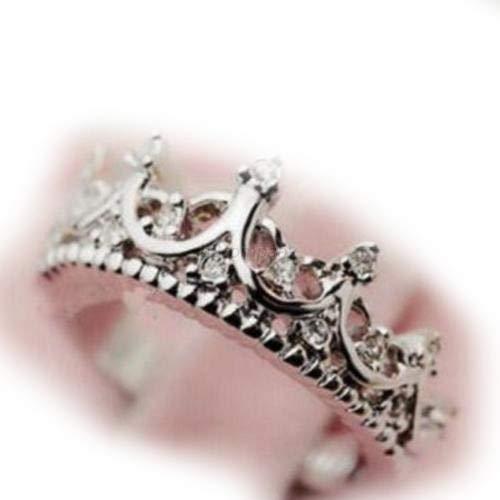 wanmanee la moda princesa Mujeres Rhinestone Corona de Plata Anillo Tamaño 5678nuevos