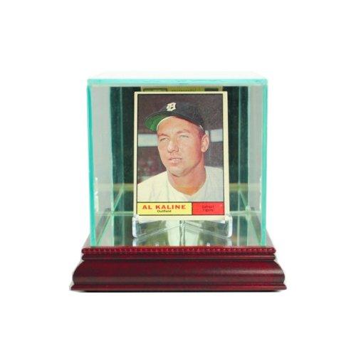 Glass Single Baseball Card Display Case with Cherry Wood - Baseball Case Single Glass