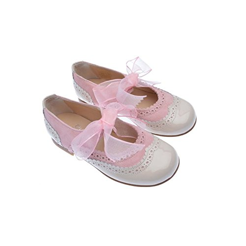 Merceditas fille verni et daim Rose en cuir de mi qualité, chaussure enfant Made in Spain, garantie de qualité.