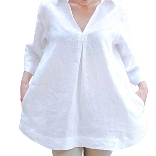 Beautyfine Women Loose V Neck White Blouses, Solid Tops Long Sleeve Shirts Spring ()