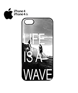 Life is a Wave Surfing Surfer Mobile Cell Phone Case Cover iPhone 4&4s Black
