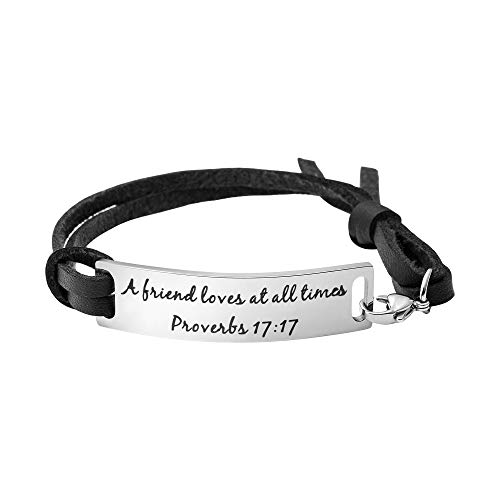 Yiyang A Friend Loves at All Times Best Friend Bridesmaid Gift Message Girl Leather Bracelet (Friends Love At All Times Bible Verse)