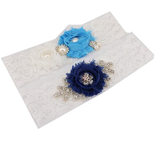 trlyc G3- Liga de encaje de Boda de 5 cmde ancho x 46cm de largo Color Blanco. azul marino trlyc blue