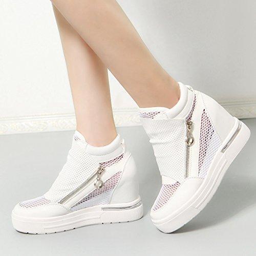 Cybling Ademend Hoge Top Dames Verborgen Hakken Sleehak Sneakers Antislip Platform Rits Schoenen Wit